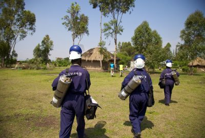 IRS operators head out for a day of work, IRS spray campaign, Kenya, 2014