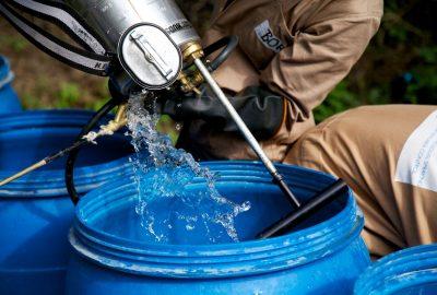 Preparing spray equipment for IRS campaign, Ethiopia, 2014