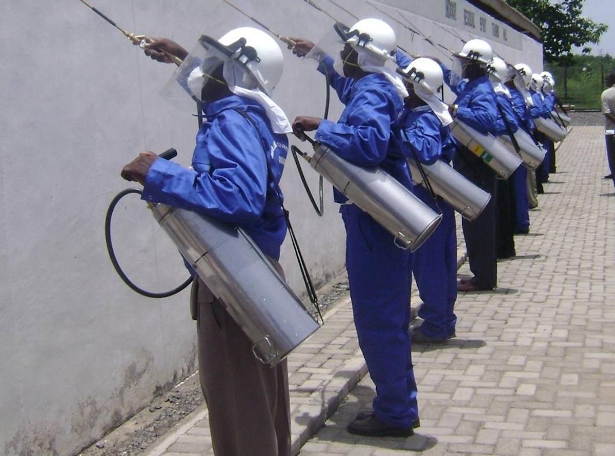 IRS spray operators receiving training
